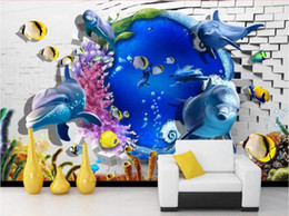 $enCountryForm.capitalKeyWord Australia - WDBH 3d wallpaper custom photo Sea World Dolphin Fish Brick Wall TV background wall room home decor 3d wall murals wallpaper for walls 3 d