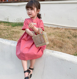 Chinese Wholesale Red Dresses Australia - Girls dresses chinese style kids button short sleeve dress children red princess dress 2019 summer new children clothing F7374