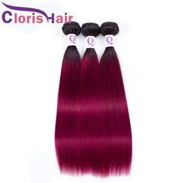Discount hair weave two tone red straight Outlet Two Tone 1B Burgundy Human Hair Weave 3 Bundles Silky Straight Peruvian Virgin Ombre Weft Cheap Red Colored Exten