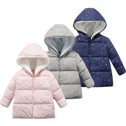 Wholesale star printing coat online – oversize Girls Solid Down Coats Designs Star Printed Cotton Long Sleeve Toddler Baby Boys Girls Designer Winter Jacket Snow Coat T