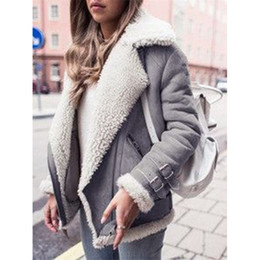 $enCountryForm.capitalKeyWord NZ - 2018 Fashion Women Bomber Jackets Faux Suede Fur Coats Warm Fleece Lamb Wool Coats Winter Ladies Lapel Motorcycle Jackets Zipper Overcoat