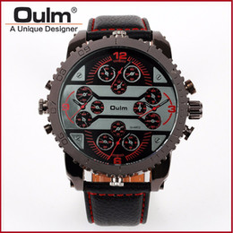 $enCountryForm.capitalKeyWord Australia - Oulm Mens Big Face Watches 4 Time Zone Leather Band Casual Japan Quartz Movement Wrist Watch Luxury Timepiece