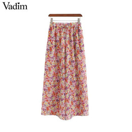 Wholesale chiffon wide legged trousers for sale – dress Vadim Women Chiffon Floral Print Wide Leg Pants Elastic Waist Bow Tie Design Pleated Pockets Female Summer Wear Trousers Ka967 Y19070301