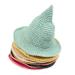 2be523f9e4 Girls Straw Hat Children Sun Hat Spring Baby Beach Caps Hand-woven Witch  Spiky Hat 9 Colors