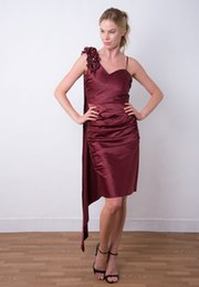 one scarf Canada - Gorgeous One-Shoulder Cascading Scarf Ruched Elegant Beauty Beaded Wine Evening Party Short Dress