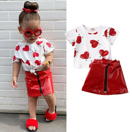 baby love wholesale clothing NZ - Valentine'S Days Kid Baby Girl Clothes Sets Love Print T Shirts Top Leather Skirt Summer Outfit 0-5Y