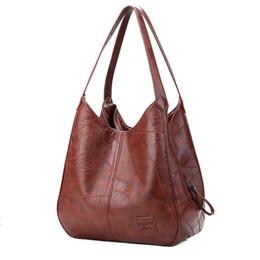 Bolsos de hombro de las mujeres de la vendimia Diseñadores Moda Práctica Bolsos de múltiples bolsos Damas Sólido Bolsos de mano de gran capacidad para mujer Sac en venta