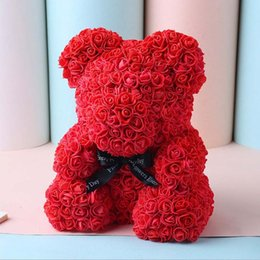 Handmade wedding dolls online shopping - 25cm handmade Artificial PE Rose Bear plush toys Gift For Wedding Party Decoration Creative Romantic Valentine s gifts