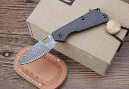Discount strider knives - Mini strider knife damascus Titanium Handle Keyring Pocket Knife ball bearing pocket keychain folding gift knife for man