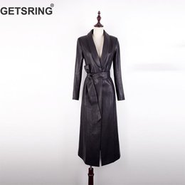 Wholesale GETSRING Women Trench Coat PU Leather Windbreaker Temperament Womens Trench Coats Long Sleeve Lace Up Female Overcoat Spring New