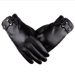 $enCountryForm.capitalKeyWord Australia - Mens Winter Driving PU Leather Touchscreen Gloves Warm Soft Thick Fleece Lining Windproof Water-resistant Biking Outdoor Gloves Black Brown