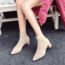 short toe socks women Australia - Hot Sale- Autumn Winter New Knitted Elastic Socks Boots solid Medium Heeled Short Boots Women Point Toe Ankle Boots S1062