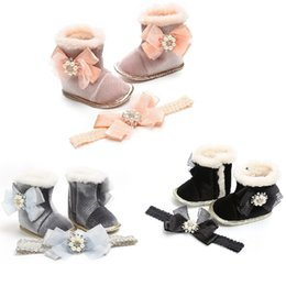 girl flower boots shoes Australia - Vieeoease Baby Girls Shoes 2019 Autumn Winter Fashion Pearl Bow Thicked Boot Anti Slip Princess Shoes with Headband