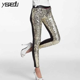 acfa009636cfe #0506 Spring Summer Punk PU Sequins Leggings Sequin Pants Elastic High Waist  Sexy Club Faux Leather Shiny Silver Gold Red Y190603