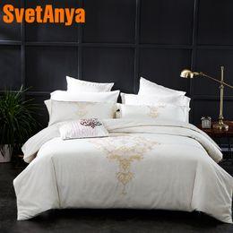 $enCountryForm.capitalKeyWord Australia - Svetanya Embroidered Egyptian Cotton Bedding Sets Queen King Size flat Bedsheet Pillowcases Duvet Cover Set White
