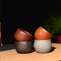 vintage cups NZ - 70ML Yixing Purple Clay Puer Teacups Office Kung Fu Tea Set Raw Ore Vintage Pattern Zisha Tea Cup Home Drinkware Sent Friends
