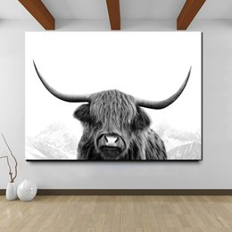 $enCountryForm.capitalKeyWord Australia - 1 Piece Simple Nordic Decoration Nursery Rabbit Girl Wall Art,Black And White Highland Cow Canvas Art Print And Poster No Framed