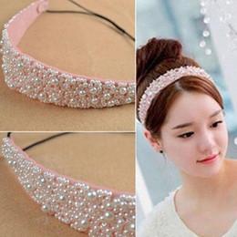 $enCountryForm.capitalKeyWord Australia - Fashion Lady's Pearl Beads Crystal Headband Beauty Hairband Elastic Hair Head Band Headwear Accessories For Woman