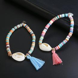 $enCountryForm.capitalKeyWord NZ - White Shell Elastic Bracelet Bohemian Colorful Polymer Clay Beaded Bracelets Holiday Jewelry Seashell Beach For Women