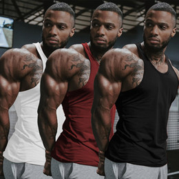 Wholesale tanks tops men for sale - Group buy Mens Singlet T Back Tank Top Vest Muscle Man Quick Dry Vests Loose Comfort Racer Y Back Bodybuilding Cotton Workout Sportswear