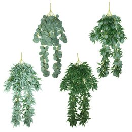 $enCountryForm.capitalKeyWord Australia - Artificial Eucalyptus Leafs Rattan Fake Wicker Wall Hanging Long Plant Vine String Vivid Vine Faux Foliage for Home Decoration