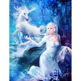 horses girl painting Australia - Youran New Arrival Diy Diamond Painting 5d Cartoon Princess and White Horse Girl Room Wall Decoration Picture Resin Mosaic Craft