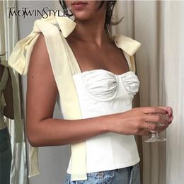 Vintage Vests Women Australia - Twotwinstyle White Crop Tops Female Sleeveless Bandage Short Strap Vest For Women Vintage Fashion Korean 2018 Summer Tide Q190521