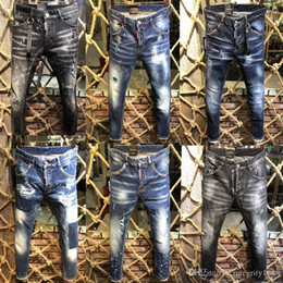Cheap rip jeans online shopping - Italian brand high quality jeans Hole Pierre Rock Biker D2 Men Ripped Denim Tearing Jeans Trousers Black Cheap Mens Jeans Pants Ruched