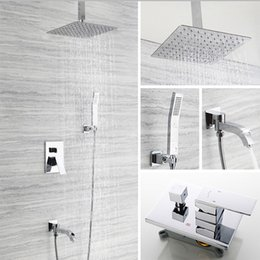 concealed shower set Australia - stainless steel conceal in wall shower faucet mixer hot cold valve with embeded box ultra thin square rain shower head set