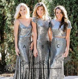MerMaid sheath wedding dresses short train online shopping - Silver Mermaid Sequined Bridesmaid Dresses Floor Length elegant Garden Wedding Guest Gowns Maid Of Honor Dress vestidos de dama de honor