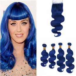 blue human hair weave Australia - Dark Blue Body Wave Brazilian Hair 4Bundles and Closure 5Pcs Lot Pure Blue Wavy Virgin Human Hair Weave Wefts with 4x4 Lace Closure