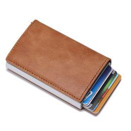 $enCountryForm.capitalKeyWord Australia - Thin Vintage Genuine Leather Antitheft Men Women Credit Card Holder Blocking Rfid Card Wallet Aluminum Metal Purse