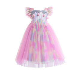 princess style dresses for girls 2019 - Girls Sequins Rainbow Lace princess dress Kids big Pompons flouncing sleeve sequined long dress for birthday party perfo