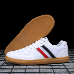 Discount top hard drives - Men Casual Shoes Fashion Luxury Designer Sneakers Lace-up Blue Stripe With Top Quality Driving Shoes Flats White Shoes Q
