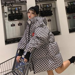 lady long winter parka NZ - Long Ladies Puffer Coat Women Winter Jacket Women Coat Long Parka Hooded Harajuku BF Plaid Casaco Streetwear Loose Outwear