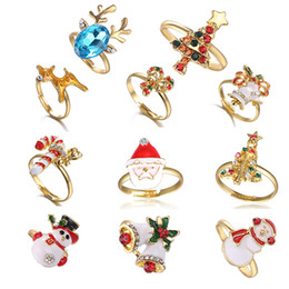 Santa Rings Australia - Christmas Open Adjustable Finger Oil Ring Gifts Snowflake Santa Claus Jungle Bell Antler Rings Child Jewelry 10color