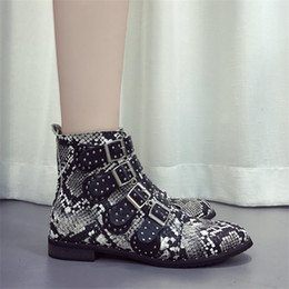 $enCountryForm.capitalKeyWord Australia - COOTELILI Snakeskin Ankle Boots Women Buckle Casual Shoes Woman Leather Black Boots For Female Botas Mujer Plus Size 43