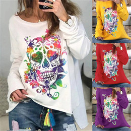 Wholesale long sleeves t shirt skull online – design 2020 New Clothing Cheap China European American Sweatshirts Halloween new skull print long sleeve women s T shirt