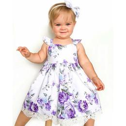 $enCountryForm.capitalKeyWord NZ - Girl Floral Sundress Dress Flower Printed Vintage Swing Baby Toddler Cotton Girl Dress for Summer Lavender Lilac 12M 24M 2T 3T 4T 5T 6T
