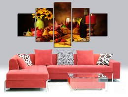 $enCountryForm.capitalKeyWord Australia - 5 Panels Candle Lights Fruit Flower Canvas Painting Modern Paintings For Home Decorative Wall Art Picture Paint On Canvas