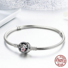 Sterling Silver pandora Style braceletS online shopping - Authentic Sterling Silver Poetic Blooms Mixed Enamels Clear Cz Bracelet Fits European Pandora Style Jewelry Charms Beads