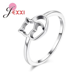 Hollow Fingers Australia - Women Lovely Cute Cat Finger Rings For Sale S90 Silver Simple Hollowed Charm Animal Rings For Wedding Engagement Party