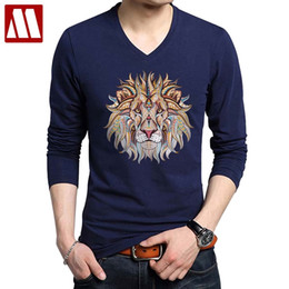 men spandex long sleeve t shirts NZ - 2020 Fashion Cool Lion Design Cotton Long Sleeve Printed Men T-shirts Casual V Neck Knitted Mens tshirt men's tops tee shirts CJ200410