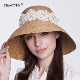 c4929f5a Summer Straw Hat For Women 2018 Fashion White Lace Garland Wide Brim Floppy  Beach Side Sun Cap Female Visor Hat Bohemia cap