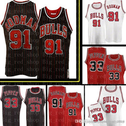 c8b33ae44de Bulls Dennis 91 Rodman Scottie 33 Pippen Jersey Chicago Retro Mesh Bulls  Basketball Jerseys Black Red stripe White