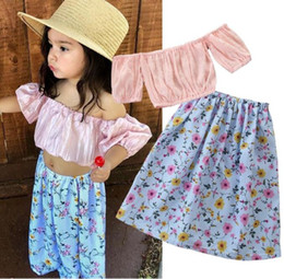 girls wholesale boutique outfits Canada - summer kids outfits clothes girls 2019 childrens boutique clothing baby girl off the shoulder tops pink tube shirt + floral skirts BY1096