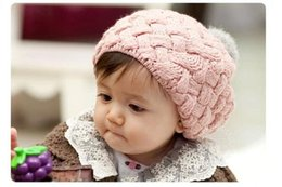 Wholesale Winter Warm Baby Hat Soft Crochet Knitted Beanie Caps Cute Rabbit Faux Fur Gorros Infant Toddler Beret Hats Ball Cap Photo Props