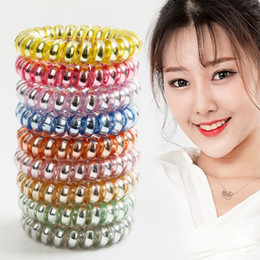 Metal Hair Ponies Australia - Medium Hair Coil Metal Punk Telephone Wire Coil Gum Elastic Band Girls Hair Tie Rubber Pony Tail Holder Bracelet Stretchy Scrunchies