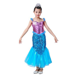 Yarn costume online shopping - Baby Cosplay Outfits Girl Sequins Mermaid Tail Mid Calf Mesh Yarn Sling Dress Short Sleeve Halloween Children s Day Performance Costume M198