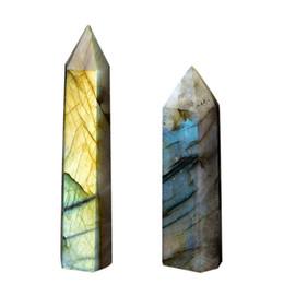 $enCountryForm.capitalKeyWord UK - 100% Natural Labradorite Moonstone Crystal Hexagonal Edge Degaussing Energy Stone Quartz Ornaments C19041101